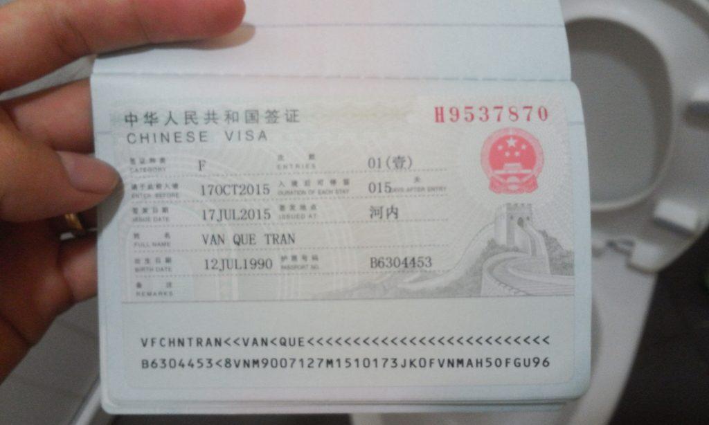 Visa Trung Quốc được cấp thành công