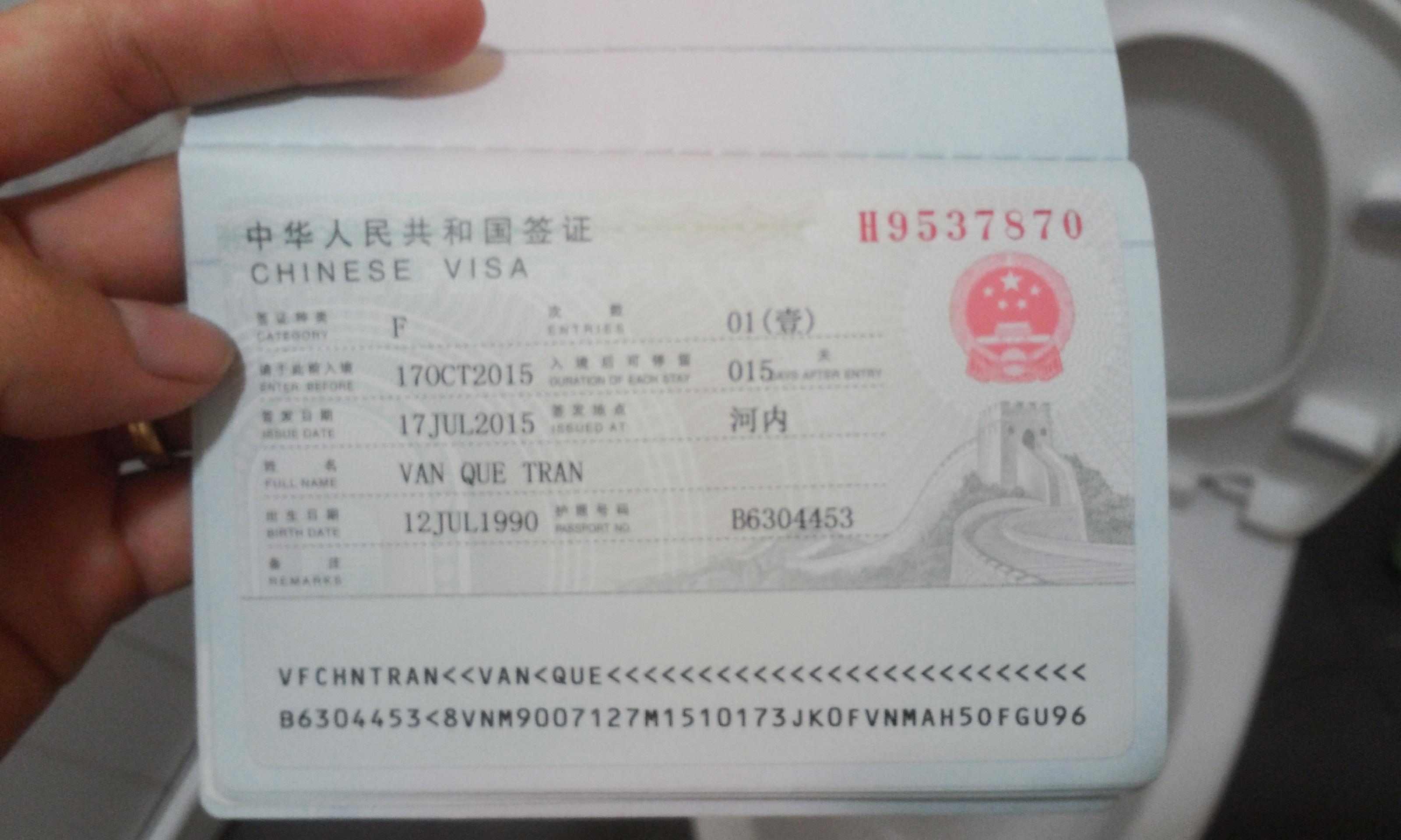 Giá visa Trung Quốc